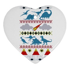 My Grandma Likes Dinosaurs Ugly Holiday Christmas Heart Ornament (two Sides)