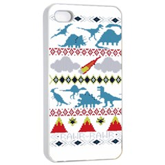 My Grandma Likes Dinosaurs Ugly Holiday Christmas Apple Iphone 4/4s Seamless Case (white)