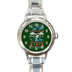 My Grandma Likes Dinosaurs Ugly Holiday Christmas Green Background Round Italian Charm Watch