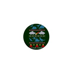 My Grandma Likes Dinosaurs Ugly Holiday Christmas Green Background 1  Mini Magnets