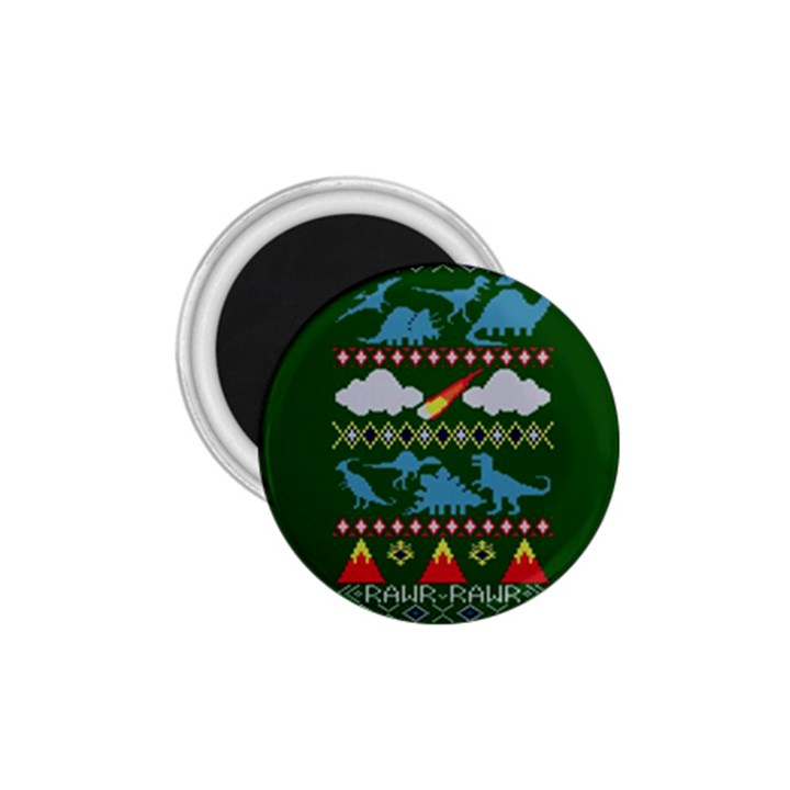 My Grandma Likes Dinosaurs Ugly Holiday Christmas Green Background 1.75  Magnets