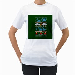 My Grandma Likes Dinosaurs Ugly Holiday Christmas Green Background Women s T Shirt (white) (two Sided)