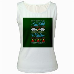 My Grandma Likes Dinosaurs Ugly Holiday Christmas Green Background Women s White Tank Top