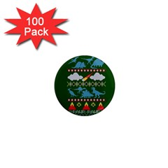 My Grandma Likes Dinosaurs Ugly Holiday Christmas Green Background 1  Mini Magnets (100 Pack)