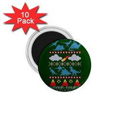 My Grandma Likes Dinosaurs Ugly Holiday Christmas Green Background 1 75  Magnets (10 Pack)