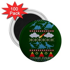 My Grandma Likes Dinosaurs Ugly Holiday Christmas Green Background 2 25  Magnets (100 Pack)