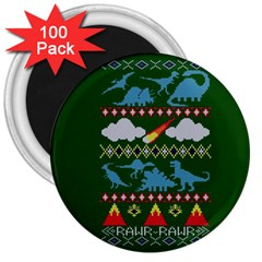 My Grandma Likes Dinosaurs Ugly Holiday Christmas Green Background 3  Magnets (100 Pack)