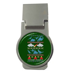 My Grandma Likes Dinosaurs Ugly Holiday Christmas Green Background Money Clips (round)