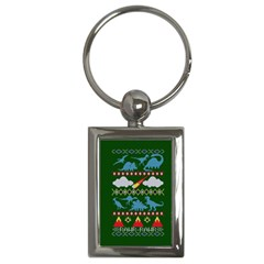 My Grandma Likes Dinosaurs Ugly Holiday Christmas Green Background Key Chains (rectangle)