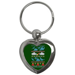 My Grandma Likes Dinosaurs Ugly Holiday Christmas Green Background Key Chains (heart)