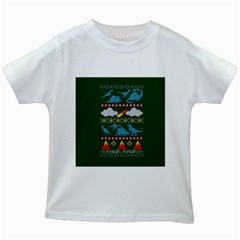 My Grandma Likes Dinosaurs Ugly Holiday Christmas Green Background Kids White T Shirts