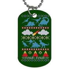 My Grandma Likes Dinosaurs Ugly Holiday Christmas Green Background Dog Tag (one Side)