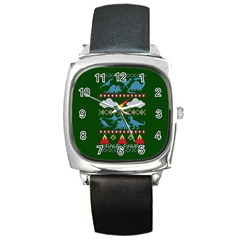 My Grandma Likes Dinosaurs Ugly Holiday Christmas Green Background Square Metal Watch
