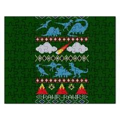 My Grandma Likes Dinosaurs Ugly Holiday Christmas Green Background Rectangular Jigsaw Puzzl
