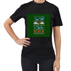 My Grandma Likes Dinosaurs Ugly Holiday Christmas Green Background Women s T Shirt (black) (two Sided)