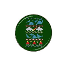 My Grandma Likes Dinosaurs Ugly Holiday Christmas Green Background Hat Clip Ball Marker (10 Pack)