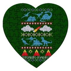 My Grandma Likes Dinosaurs Ugly Holiday Christmas Green Background Jigsaw Puzzle (heart)