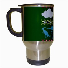 My Grandma Likes Dinosaurs Ugly Holiday Christmas Green Background Travel Mugs (white)