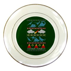 My Grandma Likes Dinosaurs Ugly Holiday Christmas Green Background Porcelain Plates