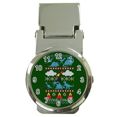 My Grandma Likes Dinosaurs Ugly Holiday Christmas Green Background Money Clip Watches