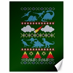 My Grandma Likes Dinosaurs Ugly Holiday Christmas Green Background Canvas 18  X 24