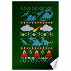 My Grandma Likes Dinosaurs Ugly Holiday Christmas Green Background Canvas 20  X 30