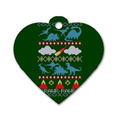 My Grandma Likes Dinosaurs Ugly Holiday Christmas Green Background Dog Tag Heart (one Side)