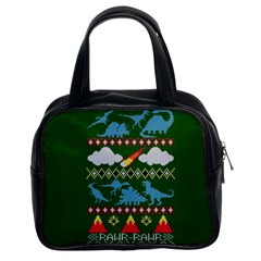 My Grandma Likes Dinosaurs Ugly Holiday Christmas Green Background Classic Handbags (2 Sides)