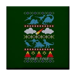 My Grandma Likes Dinosaurs Ugly Holiday Christmas Green Background Face Towel
