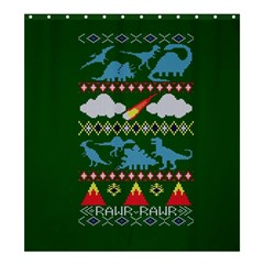 My Grandma Likes Dinosaurs Ugly Holiday Christmas Green Background Shower Curtain 66  X 72  (large)