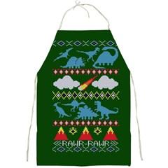 My Grandma Likes Dinosaurs Ugly Holiday Christmas Green Background Full Print Aprons