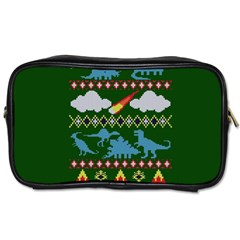 My Grandma Likes Dinosaurs Ugly Holiday Christmas Green Background Toiletries Bags 2 Side