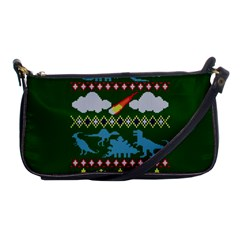 My Grandma Likes Dinosaurs Ugly Holiday Christmas Green Background Shoulder Clutch Bags