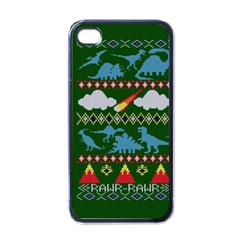 My Grandma Likes Dinosaurs Ugly Holiday Christmas Green Background Apple Iphone 4 Case (black)