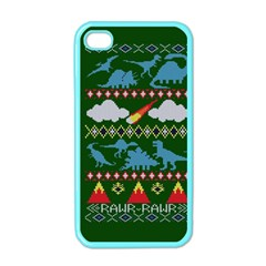 My Grandma Likes Dinosaurs Ugly Holiday Christmas Green Background Apple Iphone 4 Case (color)