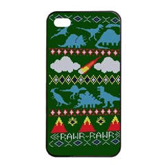 My Grandma Likes Dinosaurs Ugly Holiday Christmas Green Background Apple Iphone 4/4s Seamless Case (black)