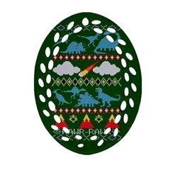 My Grandma Likes Dinosaurs Ugly Holiday Christmas Green Background Oval Filigree Ornament (two Sides)