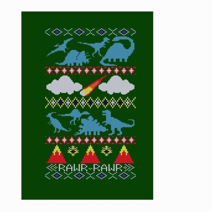 My Grandma Likes Dinosaurs Ugly Holiday Christmas Green Background Large Garden Flag (Two Sides)