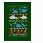 My Grandma Likes Dinosaurs Ugly Holiday Christmas Green Background Large Garden Flag (Two Sides) Back