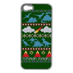 My Grandma Likes Dinosaurs Ugly Holiday Christmas Green Background Apple Iphone 5 Case (silver)