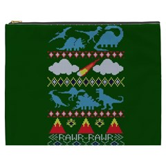 My Grandma Likes Dinosaurs Ugly Holiday Christmas Green Background Cosmetic Bag (xxxl)