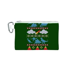 My Grandma Likes Dinosaurs Ugly Holiday Christmas Green Background Canvas Cosmetic Bag (s)