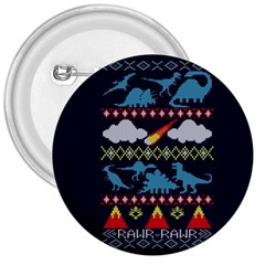 My Grandma Likes Dinosaurs Ugly Holiday Christmas Blue Background 3  Buttons