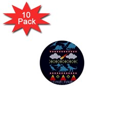 My Grandma Likes Dinosaurs Ugly Holiday Christmas Blue Background 1  Mini Buttons (10 Pack)