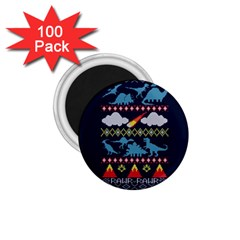 My Grandma Likes Dinosaurs Ugly Holiday Christmas Blue Background 1 75  Magnets (100 Pack)