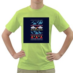 My Grandma Likes Dinosaurs Ugly Holiday Christmas Blue Background Green T Shirt