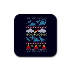 My Grandma Likes Dinosaurs Ugly Holiday Christmas Blue Background Rubber Coaster (square)