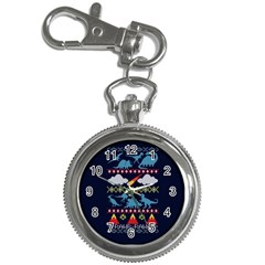 My Grandma Likes Dinosaurs Ugly Holiday Christmas Blue Background Key Chain Watches