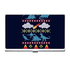 My Grandma Likes Dinosaurs Ugly Holiday Christmas Blue Background Business Card Holders