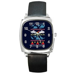 My Grandma Likes Dinosaurs Ugly Holiday Christmas Blue Background Square Metal Watch